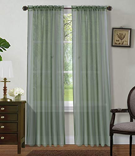 """2 Panels Window Sheer Curtains 54"""" x 84"""" Inches (108"""" Total Width), Voile Panels for Bedroom Living Room, Rod Pocket, Decorative Curtains, Solid Sheer Sage"""