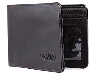 Big Skinny Men's L-Fold Passcase Leather Slim Wallet, Holds Up to 30 Cards, Black