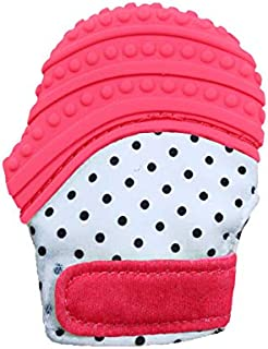 Baby Teething Mitten Soft Food Grade Mom Invented Silicone Teether Mitten with Travel Bag Ideal Teething Toys for Baby Shower Gift (Red)