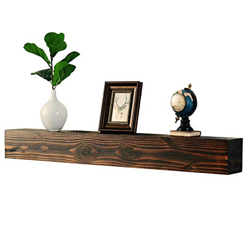 WELLAND Rustic Floating Shelf, Reclaimed Wood Wall Shelf, Fireplace Mantel Shelf Wall Mounted,Walnut Color (48