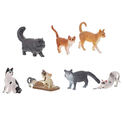 Gadpiparty 7Pcs Conjunto de Gato en Miniatura Detallado Pintado a Mano de Plástico Gato Gatito Modelo Foto Prop Gris Naranja Gato Estatua Ornamento Animal Juguete Educativo para Niños Niños