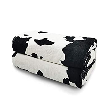 KING DARE Black and White Cows Print Fleece Sofa Blanket Lightweight Travel Blanket Cozy Plush Keep Warm Fuzzy Flannel Microfiber Throws Blankets Unisex for Baby Kids Boys Girls 40x50 Inches