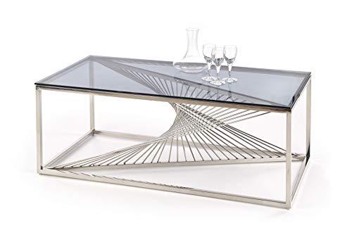 Luenra, tavolino da salotto, tavolino da caffè, vetro fumé, 120 × 60 × 45 cm, rettangolare, struttura in acciaio cromato