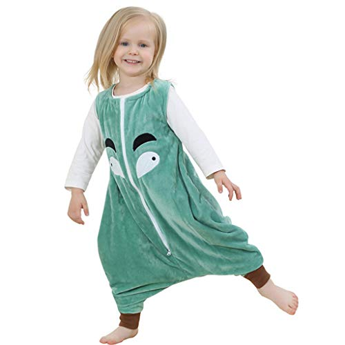 TWISFER Baby Unisex Fleece Wearable Blanket Schlafsack Ärmelloser Cartoon Pajamas Jumpsuit mit Reißverschluss Winter Warme Baby Overalls Bodysuit Tracksuit
