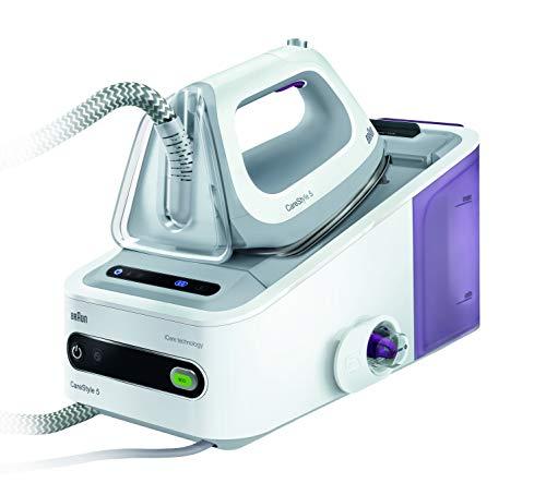 Braun Carestyle5 - Centro de planchado, 2400 w, suela bidireccional eloxal 3d, golpe de vapor 340 g/min, sistema bloqueo easylock, blanco y púrpura