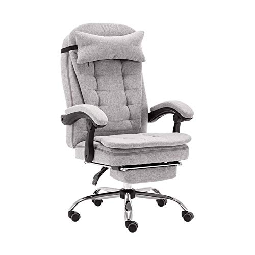 HMBB Sillas de escritorio, sillas de oficina, sillas de computadora, juegos, silla ergonómica de oficina con respaldo alto con reposacabezas extraíble y lavable (color: gris)