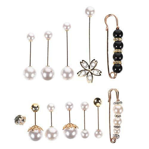 ABOOFAN 12 alfileres con perla de imperdible, broche de cuello de chal, alfileres de camisa, joyas, reducción de alfileres para apretar la cintura, suéteres para mujeres