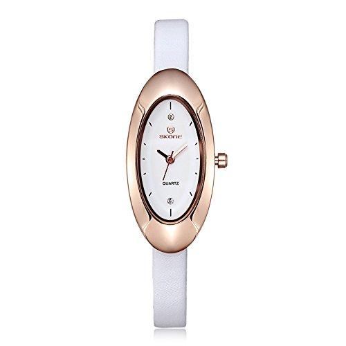 SKONE Damen Uhren Frauen Strass Uhren Oval Form Zifferblatt weiß Leder Band