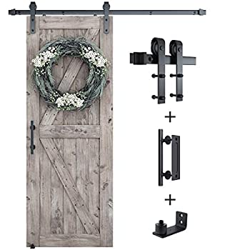 SMARTSTANDARD 6FT Sliding Barn Door Hardware Whole Kit  Include 6ft Track Kit & Pull Handle Set & Floor Guide  Super Smoothly and Quietly Easy to Install Fit 36  Wide Door Panel  J Shape