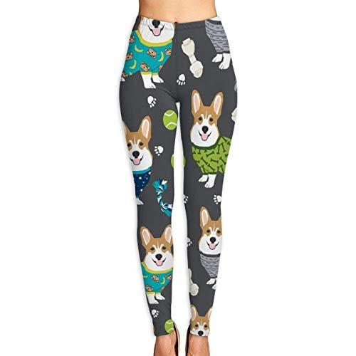 JJsister Damen Corgi Stoff Corgis im Pyjama Bedruckte Leggings Yoga Workout Leggings Hose in voller Länge Soft Capri