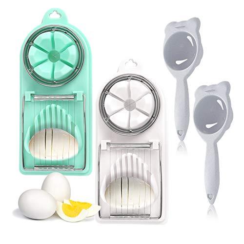 Fcslvy Cortador de Huevos, Cortadora y cortadora de huevos duros de acero inoxidable 2 en 1 para 2 estilos de rebanado Cortadora de huevos doble(Verde, blanco)