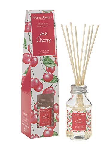 Just Cherry Fragrance Oil Reed Diffuser 100ml - Long Lasting Home Indoor Fragrance - with 8 Rattan Reeds