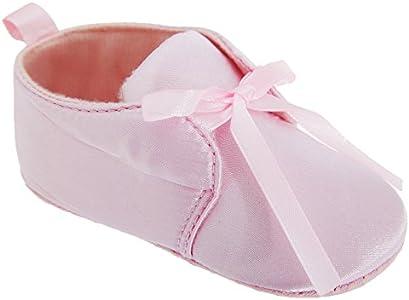 Patucos / zapatitos para bebes niñas con lazo para cochecito y ocasiones especiales (12-18 Meses/Rosa)