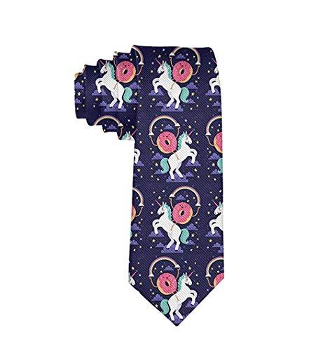 Herren-Krawatte, Donut-Design, Regenbogen-Einhorn, Einheitsgröße - Wei� - Einheitsgröße