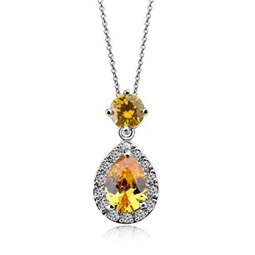 QIYUN.Z Colgantes Collar para Mujer Cristal Corazón Oro Astilla Color Collares Largos Joyería de Moda Amarillo