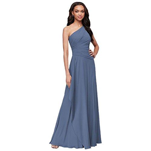 One-Shoulder Georgette Cascade Bridesmaid Dress Style F19832, Steel Blue, 0