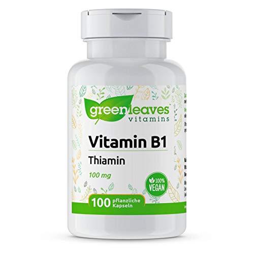 Greenleaves vitamins - Vitamin B1 100 vegetarische Kapseln Thiamin 100 mg