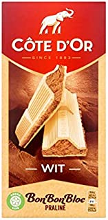 Belgian White Praliné Chocolate Bar | Côte d'Or | Bon Bon Bloc Chocolate Bar Praline White | Total Weight 7.05 ounce