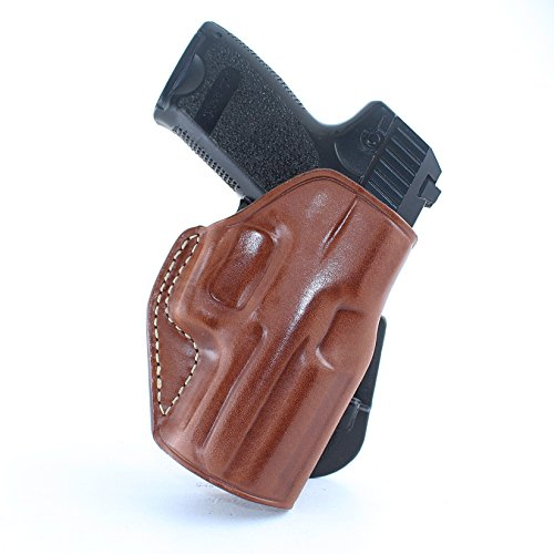 Premium Leather OWB Paddle Holster with Open Top Fits, H&K USP/P2000/P30/P30L/P7 M8/45/45C, Right Hand Draw, Brown Color (H&K USP Compact 9mm) #1023#