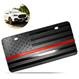 Zone Tech Tactical USA Flag License Auto Car Tag Plate with Thin Red Line- Premium Quality Thick Durable Embossed Monochrome Novelty Great American Pledge of Allegiance