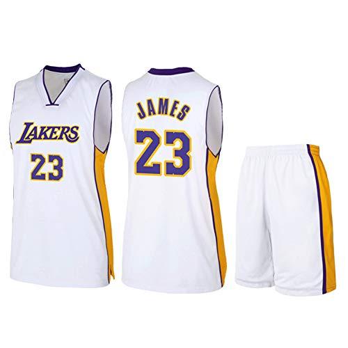 Maglia da Uomo NBA Lebron James # 23 Los Angeles Lakers, Tute Estive Divise da Basket Set Top + Pantaloncini, I Fan Fedeli Non Devono Perdere Questa Maglia,Bianca,L