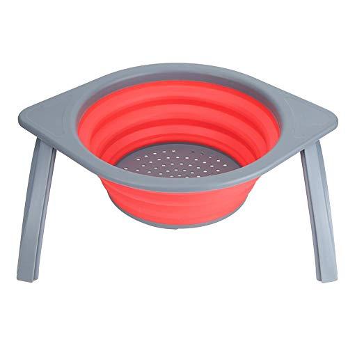 met houder PP materiaal opslag container draagbare filtermand, wasmand, voor thuis groente fruit afvoer keuken(Red gray)