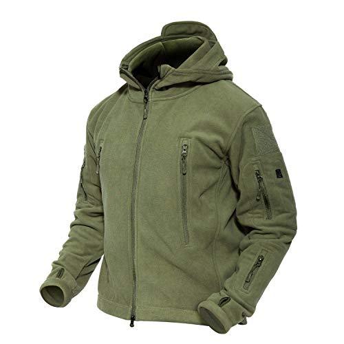 MAGCOMSEN Herren Windjacke Kapuzenjacke Combat Militär Jacke Tactical Fleece Jacke mit Taschen US Army Jacke Jagdjacke für Herren Armeegrün L