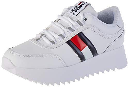 Tommy Jeans Damen HIGH Cleated Flag Sneaker, Weiß (White Ybs), 39 EU