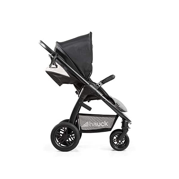 Hauck Hauck Unisex Promenade Chaises Black/Grey Hauck Maximum comfort: backrest and footrest adjustable to the lying position, extra large canopy, height adjustable handlebars, cup holders and foot covers All terrain: the stroller is suitable for both the city and the countryside thanks to the suspension, the high-quality rubber profile and the swivel and lockable front wheels. Swivel: The lightweight sports chair with removable front bar can be rotated towards parents or in moving direction easily in a few seconds. The chair supports a weight of up to 25 kg. 12