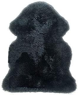 Gem Avenue New Genuine Sheepskin Fur Leather Pelt Rug Black Color