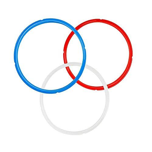 3 Piezas Anillo de Sellado de Olla Instantánea, Anillo de Sellado De Silicona, Azul y Rojo y Blanco Anillo de Sellado de Silicona para Modelos de Olla Instantánea de 6Qt O 5Qt