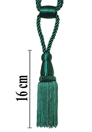 Raffhalter 50cm / Quaste 16 cm mit Kordel Farbe Grün Dunkelgrün Schmuckquaste Gardinen Vorhang...