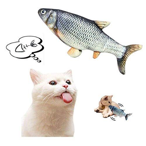 99native Spielzeug mit Katzenminze, Elektrische Realistische Plüsch Simulation Fisch USB Katzenspielzeug,Interaktive Katze Wagging Fisch Haustier Kauen Kissen für alle Katzen (A)