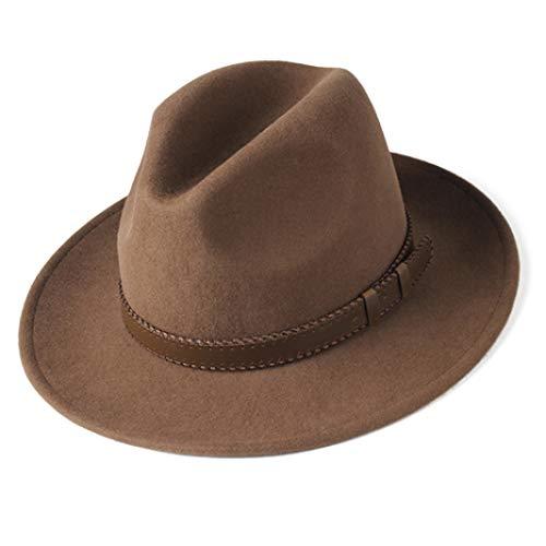 Hat for Women Men 100% Wool Felt Wide Brim Hat Vintage Jazz Fedora Hat Couple Cap Winter