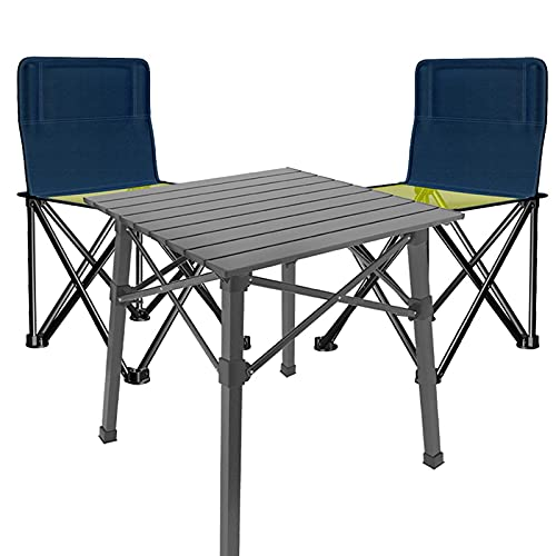 ZCZZ Sillas de Mesa de Camping Mesa Plegable con 2 sillas, Mesa de Picnic de Tela Oxford portátil para Exteriores, Mesa de jardín Multifuncional para Patio (Color: Gris, Tamaño: Juego de 3 Piezas