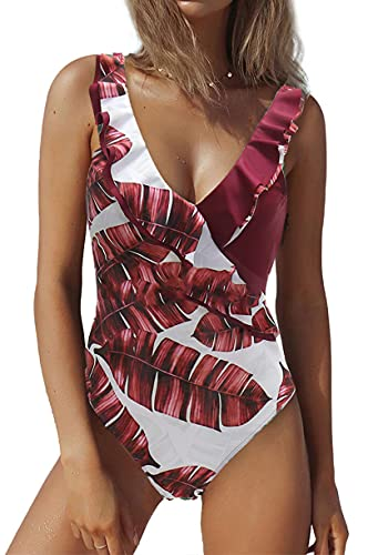 JFAN Costume da Bagno Donna Estivo con Scollo A V Stampa A Foglie Involucro della Cassa Senza Spalline del Un Pezzo Moda Senza Schienale Bikini