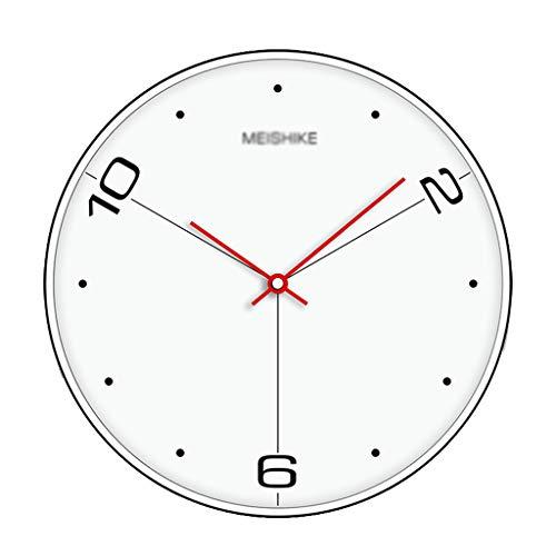 Wanduhr Schlafzimmer Silent Clock Flur Wanduhr Zuhause Wohnzimmer Uhr Restaurant Uhr leise pünktlich (Farbe: Weiß, Größe: Durchmesser 30 cm)