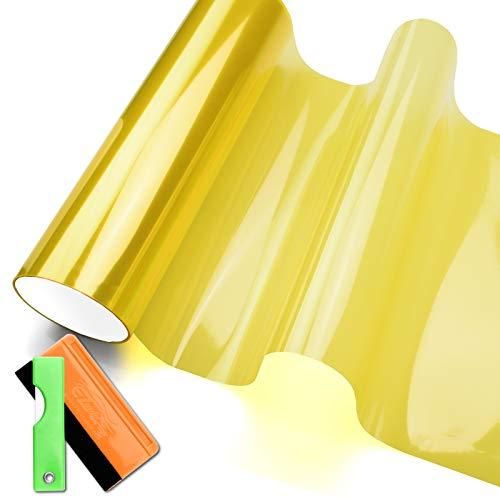 Headlights, Tail Lights, Fog Lights Tint Vinyl Film, Self Adhesive (Small 12''X48'', JDM Golden Yellow)