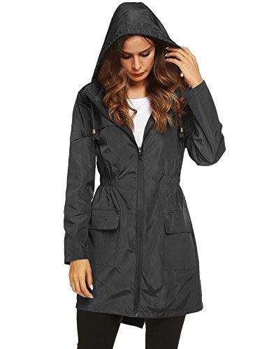 LOMON Women Waterproof Lightweight Rain Jacket Active Outdoor Hooded Raincoat (S, Black)