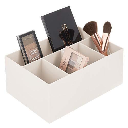 MDESIGN Schminkaufbewahrung für Wasch- oder Schminktische – Aufbewahrungsbox aus BPA-freiem Kunststoff für Make-up – moderner Kosmetik Organizer mit 5 Fächern – cremefarben