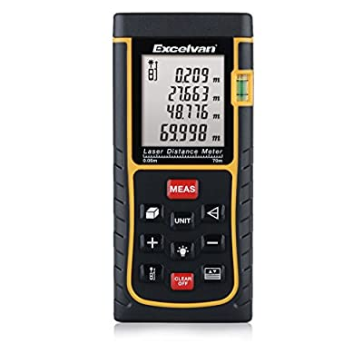 Excelvan Professional Digital Laser Distance Meter for Pythagorean, Bubble Level with High Accurate Measurement Device, Battery Included