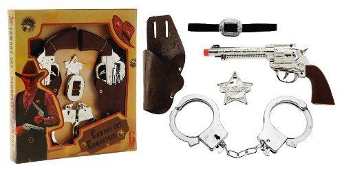 Nick and Ben Cowboy-Kostüm XXL Set Western Halfter mit 2 Revolvern + Gürtel + Stern + Handschellen Spielzeug-Pistole Kinder-Verkleidung