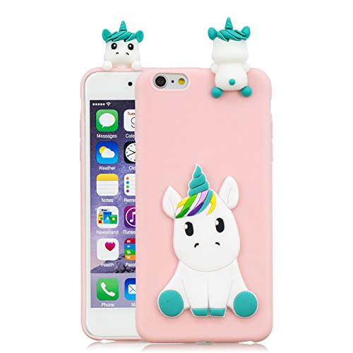 HopMore Kawaii Einhorn Handy Hülle für iPhone 6S / 6 (4.7 inch) Hülle Silikon 3D Hüllen Tier Muster Bumper Design Ultra Dünn Slim Handyhülle Schutzhülle Hülle Cover - Rosa Einhorn