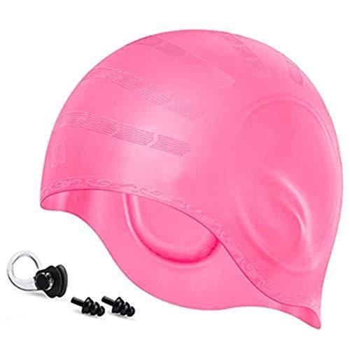 CZSMART Cuffia da nuoto in silicone impermeabile per dreadlock o capelli corti, per adulti, uomini, donne, ragazzi, bambini, con morsetto per naso e tappi per le orecchie