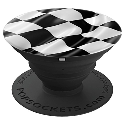 Black and White Racing Flag Checkered Flag PopSockets Grip and Stand for Phones and Tablets