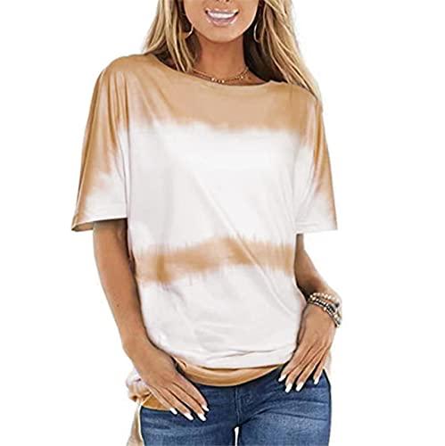 SLYZ Camisetas De Manga Corta para Mujer Blusas Estampadas De Moda De Manga Corta con Cuello Redondo Suelto De Verano para Mujer