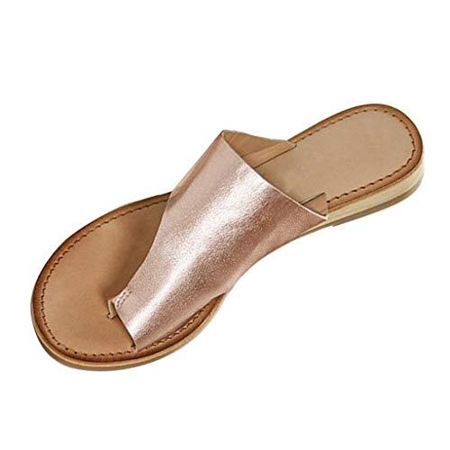 Celucke Donna Sandali Scarpe Infra-Alluce Bassi in Pelle Infradito Sandal Comode Viaggio per Spiaggia e Estate