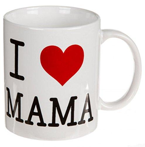 Taza de gres, diseño con texto en inglés 'I Love Mama', aprox. 10 x 8 cm.