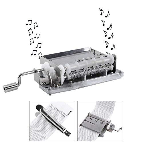 AUNMAS Music Box - Carillon a 30 Note, Movimento a manovella, Parte attaccata a Un Puncher in Metallo e 3 Strisce Fai da Te Le tue Canzoni
