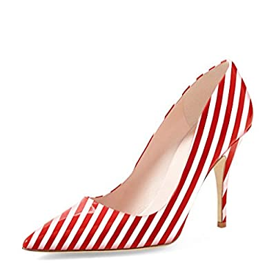 YDN Women Classic Pointy Toe Low Heel Pumps Slip on Black and White Stripe Shoes 4 (Red Stripe)